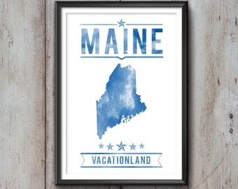 MAINE State Typography Print, Typography Poster, Maine Poster, Maine Art, Maine Gift, Maine Decor, Maine Print, Maine Love, Maine Map, Maine