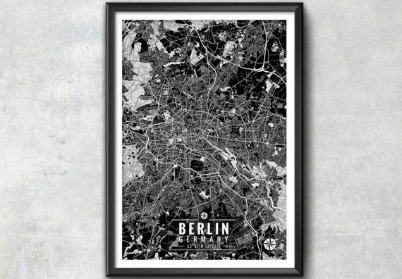 Berlin germany map with coordinates berlin wall art berlin for 15th floor berlin