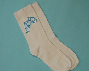 90's baby blue tribal dolphin tattoo socks