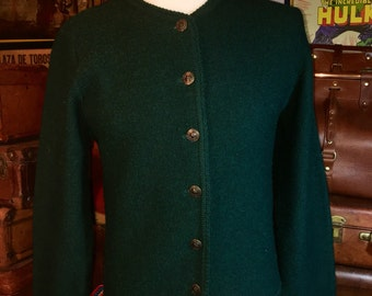 Vintage Tally-Ho Boiled Green Wool Sweater Cardigan Women's Small
