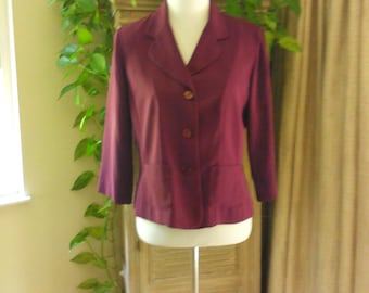 Fitted Career Blouse Jacket Size M Size 8 by Danny and Nicole Business Blouse Professional Blouse with Bracelet Length Sleeves Preppy Career