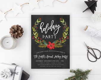 Holiday Party Invitation, Christmas, Winter, Office Party, Printable Invite (795)