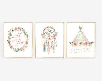 Boho Nursery Art, Dream Catcher, Baby Shower Decor, Baby Shower signs, Teepee, Arrow, Native American