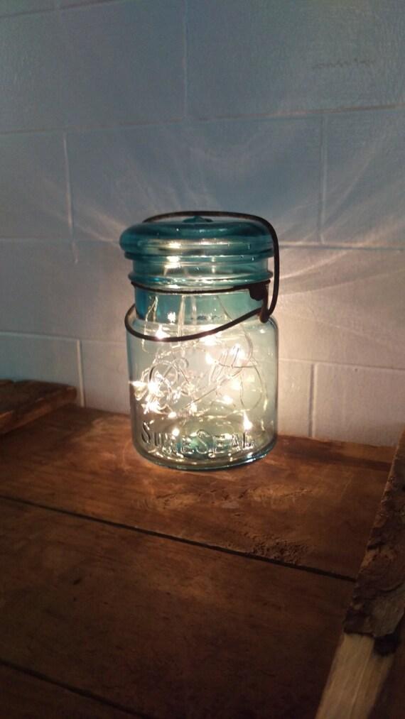 Authentic Vintage PINT Aqua Blue Ball Mason Jar Fairy String