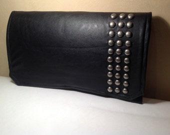 Studded Black Leather Clutch