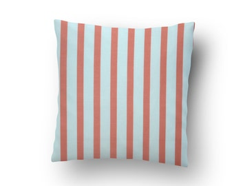 Coral Stripes Pillow Cover, Throw Pillow, Coral Pillow Cover