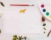 Watercolor Golden Retriever Stationery - Set of 12 Correspondence Cards