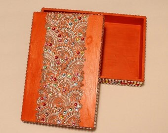 Orange/Gold/Multicolor Jewelry Box