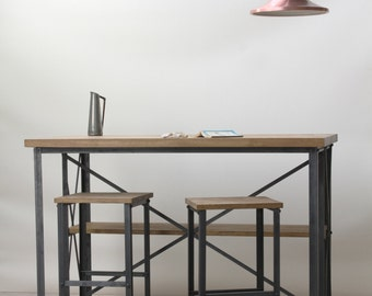 Oak/Steel INDUSTRIAL Breakfast Bar with Shelves, rustic, vintage, chic, cafe, restaurant