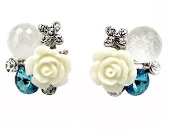 Lovely crystal ball and flower earrings