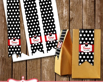 Minnie Mouse Treat Bag Tags Minnie Mouse Birthday Party Printables LL-0057-08