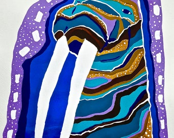 Walrus Gouache Painting, Multicolor Walrus Gouache Painting, Walrus Portrait Gouache Painting