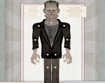Frankenstein,Halloween, Kids' Craft, laminated paper toy, Make your own Character