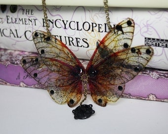 Gothic Victorian Amber and Black Wings - Fairy Necklace