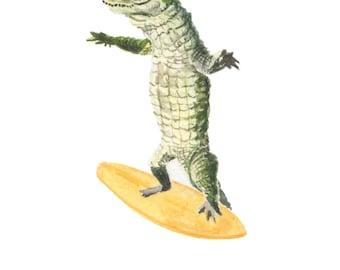 gift for surfer - crocodile surfing print, Australian animals, surf art, surfing artwork, surfing art print, alligator art, surf