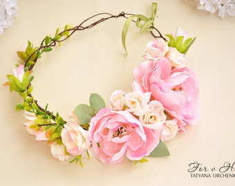 Floral crown Pink flower crown pink wedding peony Bridal flower crown pink peony crown Hair Garland Wedding crown flower hair wreath girl