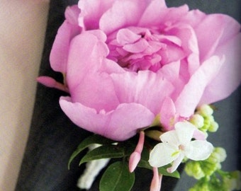 lilac and peony boutonniere, artificial flowers, flower, peonies