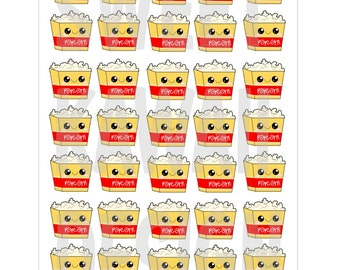 Kawaii Popcorn Bucket Stickers
