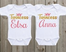 Matching Shirts Twin Outfits Twin Matching Shirts Twincess Baby Onesie ® Twin Baby Girl Outfits Twin Baby Shower Gifts Coming Home Outfit