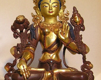White Tara Bhodisattva Lost Wax Method, Copper Made, Half Gold Gilded. Gold Face and painted with mineral Paint.