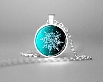 SNOWFLAKE PENDANT CHRISTMAS Pendant Snowflake Jewelry Winter Pendant Holiday Pendant Aqua Winter Necklace Christmas Necklace Holiday Gift