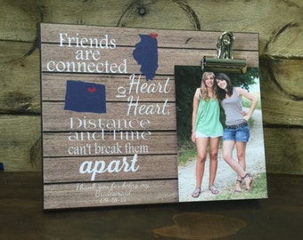 Personalized frame, Friends are connected heart to heart , States, Housewarming Gift, Christmas Gift, Cousins Gift, Best Friends
