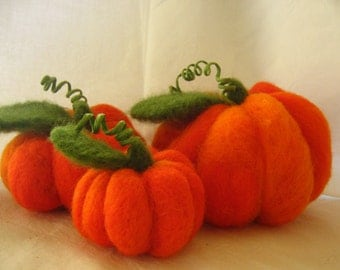 Felt Pumpkin Decor, Fall Decor, Thanksgiving Decor, Halloween Pumpkin, Felted Pumpkin, Felt Pumpkins, Large Pumpkins Decor, Orange Pumpkins
