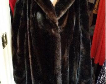 Beautiful Vintage, Tissavel Faux Fur Full Length, sz. 14-16, Coat