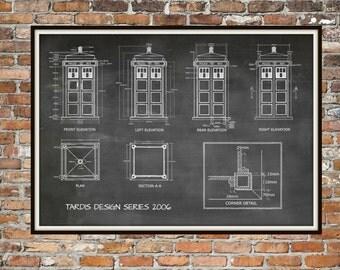 Tardis Print Poster, Dr Who Blueprint, The Tardis Blueprint 2006, Art of The Tardis, Whovian Gift - Police Box Print Art Item 0212