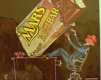 1955 Mars Candy Bar Ad Matted Vintage Print