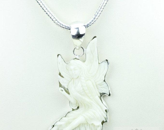 Tinker Bell DEER ANTLER TOTEM Goddess Face Moon Face Bone Carving 925 S0LID Sterling Silver Pendant + 4MM Chain p3845