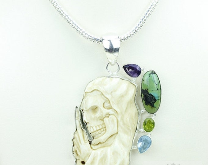 Grim Reaper TOTEM Goddess Face Moon Face Bone Carving 925 S0LID Sterling Silver Pendant + 4MM Chain p3890
