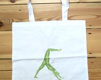 Yoga Tote bag - Downward Dog pose - Green - White