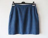 Blue Plaid High Waist Uniform Skirt Short Navy Blue Pencil Skirt Checkered Skirt School Uniform Skirt Short Blue Plaid Skirt Size Large