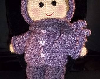 HOLIDAY 2017 SALE!! Hand crocheted  Doll - Light BrownHair - Dusty Purple Overalls