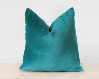 Blue Green Pillow Cover Teal Velvet Cushion Solid Teal Throw Pillows Teal Lumbar Pillow Modern Home Decor 18x18 20x20 22x22