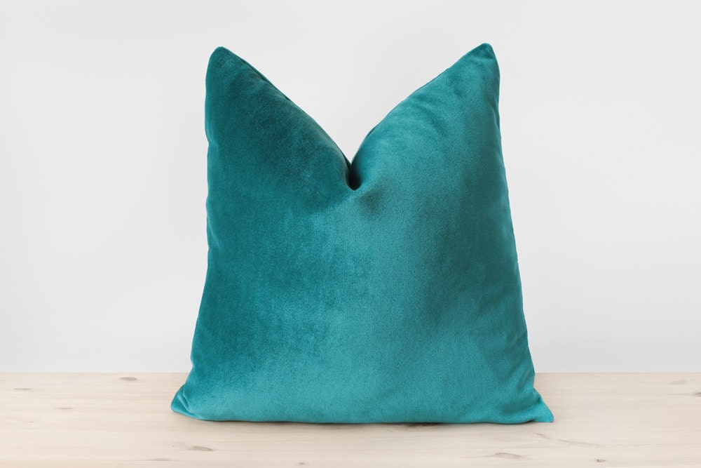 Blue Green Pillow Cover Teal Velvet Cushion Solid Teal Throw
