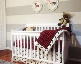 Lumberjack hunter Baby crib sheet 4pc bedding set black and red blanket, 2 fitted sheets and a bedskirt baby boy nursery decor
