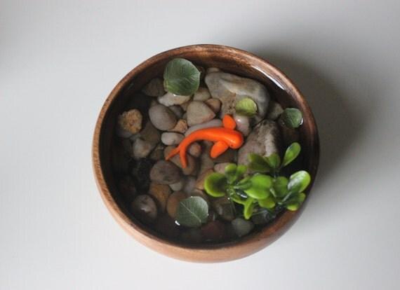 Miniature koi pond in wood bowl fake koi pond polymer clay for Fake koi fish