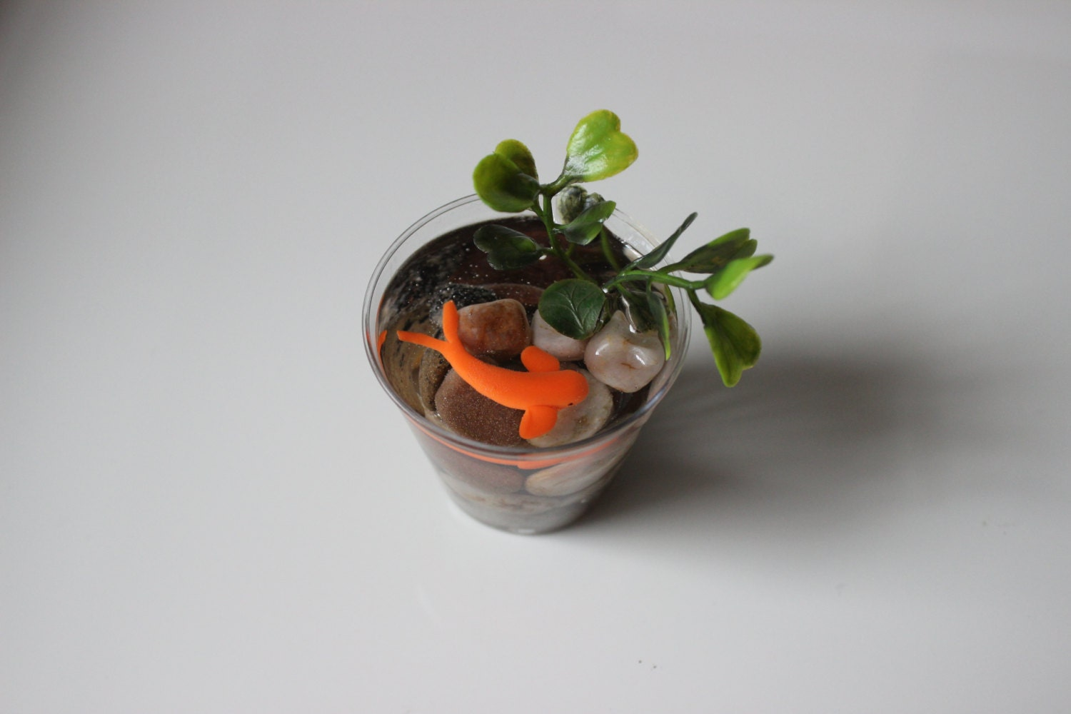 Miniature koi pond in plastic cup fake koi pond koi for Plastic pond
