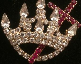 15% OFF SALE! Vintage Rhinestone Crown Brooch Pin Red Ruby Rhinestone Cross