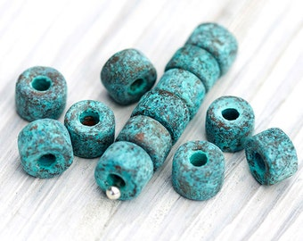 20 Pc Greek Mini Tubes, Spacer Beads, Tube Beads, Antique Jewelry Supplies, Copper and Green Patina, Greek Mykonos Beads, 6 x 4 mm – MK247