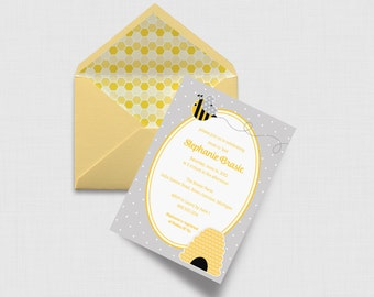 """Buzzy Bee Baby Shower 5"""" x 7"""" Invitation - Gray and Yellow - Digital or Printed"""