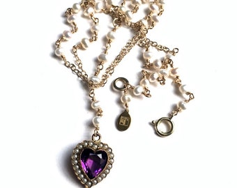 Amethyst Glass Heart Pendant, Rosary Style Necklace, Vintage Pendant Necklace,  Freshwater Pearl Necklace, Long Charm Necklace, UK Seller
