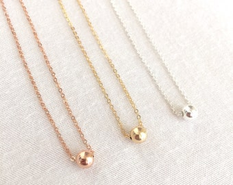 Single Bead Necklace, Floating Bead, Solitaire Bead, Sterling Silver Bead, Gold Fill Bead, Rose Gold Bead, Dainty Necklace, Brides Necklace