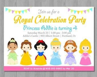 Princess Invitation, Princess Birthday Invitation, Disney Princess Invitation, Disney Princess Party, Disney Princess