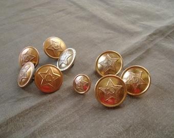 Set of 9 vintage soviet military buttons. Vintage Soviet Army buttons. USSR military buttons.