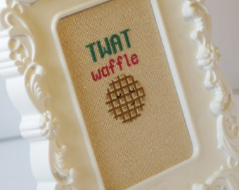 Twat Waffle -  cross stitch pattern silly insult funny original DIY how-to alternative needle point