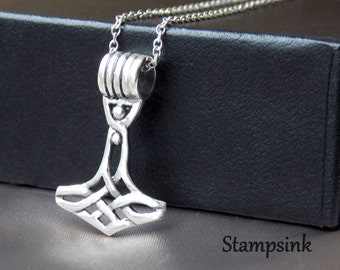 Thor hammer, Viking Necklace, Viking Axe, thors hammer pendant,, Long Silver Necklace, Sterling Silver Chain, boyfriend gift, Stampsink