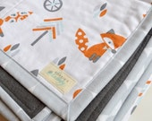 Fox baby quilt, soft play mat, Baby Blanket, Gender Neutral, Nursery decor, Fox, Woodland, Baby Shower Gift, Bicycle,Forest, READY TO SHIP